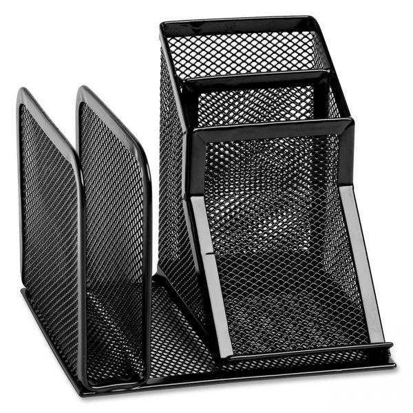 Rolodex Wire Mesh Desk Organizer with Pencil Storage, 5 3/4 x 5 1/8 x 5 1/8, Black