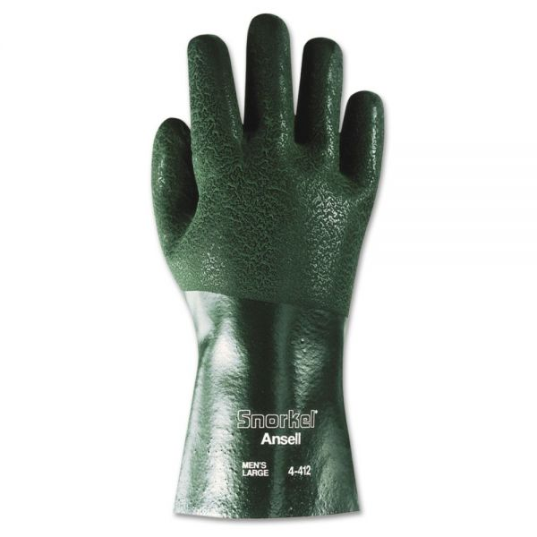 AnsellPro Snorkel Chemical-Resistant Gloves, Size 10, PVC/Nitrile, Green, 12 PR