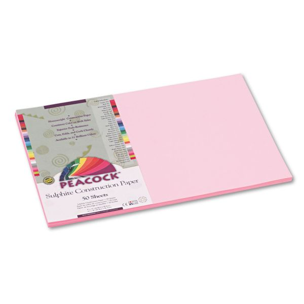 Peacock Sulphite Pink Construction Paper