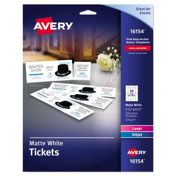 Avery Tickets with Tear-Away Stubs, 1 3/4 x 5 1/2, Matte White, 200 Tickets