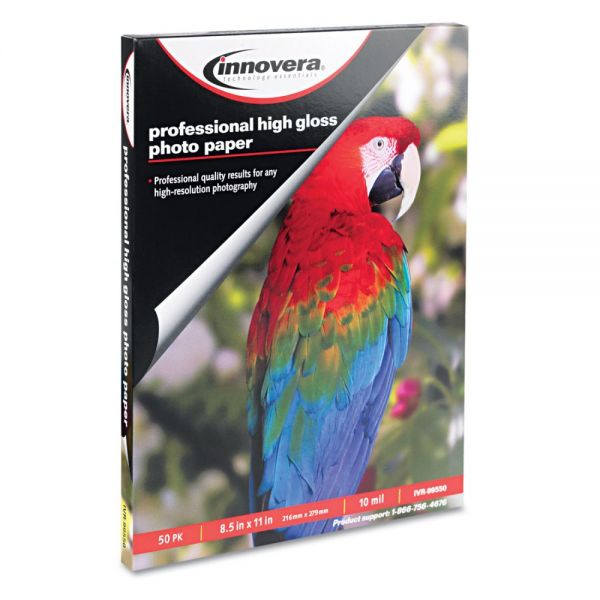 Innovera High-Gloss Photo Paper, 8-1/2 x 11, 50 Sheets/Pack