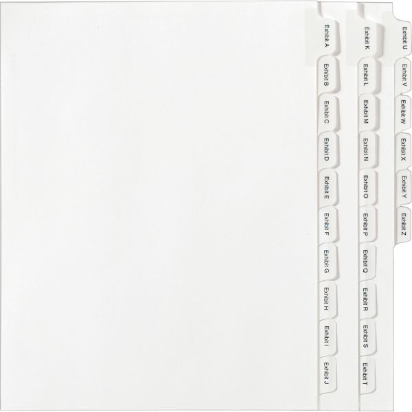 Avery Allstate-Style Legal Exhibit Index Dividers, 25-Tab, Exhibit A-Z, Letter, White