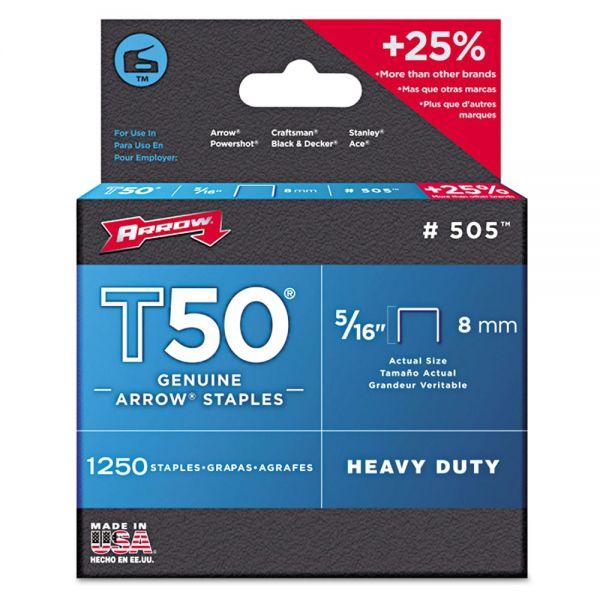 "Arrow T50 Heavy Duty Staples, 5/16"" Leg, 1250/Pack"