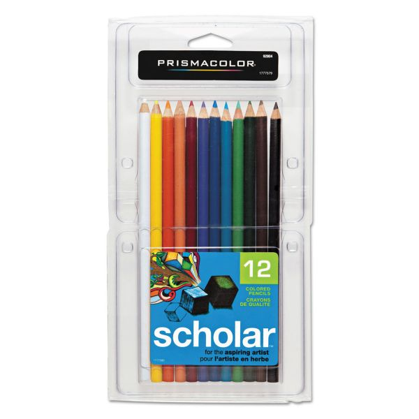 Prismacolor Scholar Colored Pencil Set, 2B, 12 Assorted Colors/Set