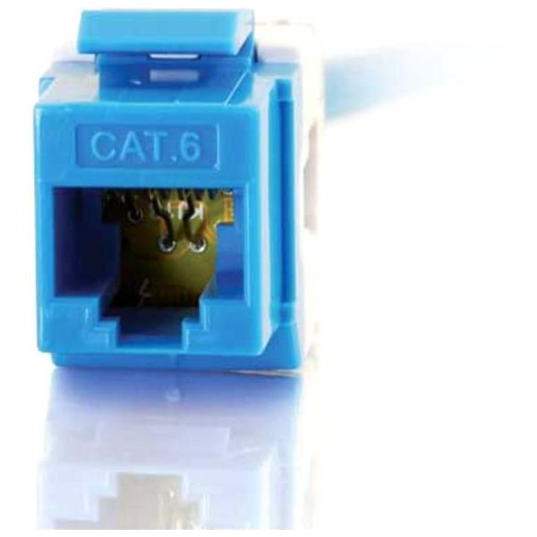 C2G 180 Degree Cat6 RJ45 UTP Keystone Jack - Blue