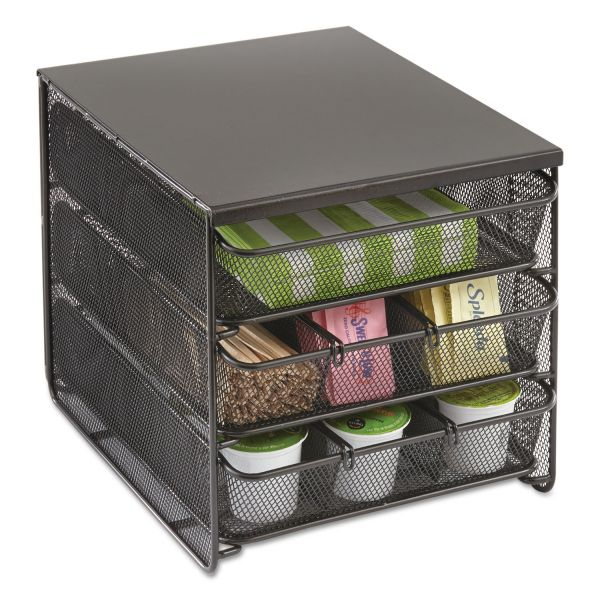 Safco 3 Drawer Hospitality Organizer, 7 Compartments, 11 1/2w x 8 1/4d x 8 1/4h, Bk