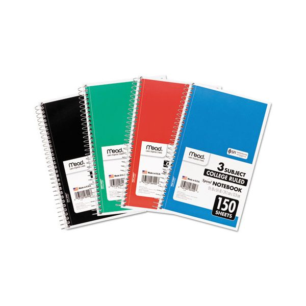 Mead Spiral Bound Notebook, Perforated, College Rule, 9.5 x 5.5, White, 150 Sheets