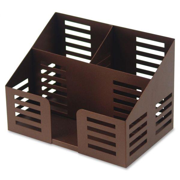 Lorell Stamped Steel 3-Comprtmt Desktop Organizer