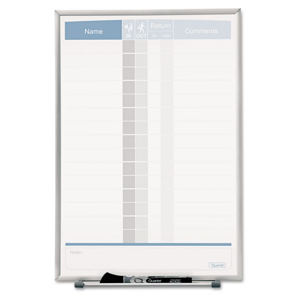 Quartet Vertical Matrix Employee Tracking Board, 11 x 16, Aluminum Frame