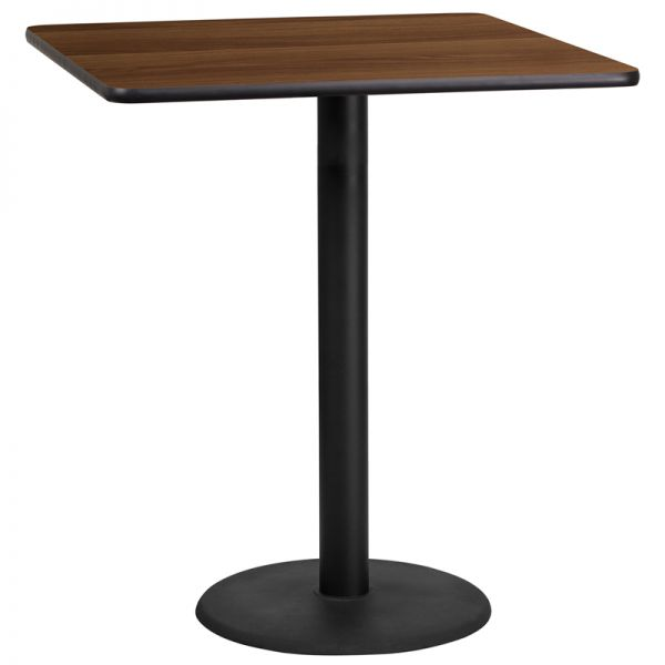 Flash Furniture 36'' Square Walnut Laminate Table Top with 24'' Round Bar Height Table Base
