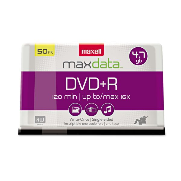 Maxell DVD+R Discs, 4.7GB, 16x, Spindle, Silver, 50/Pack
