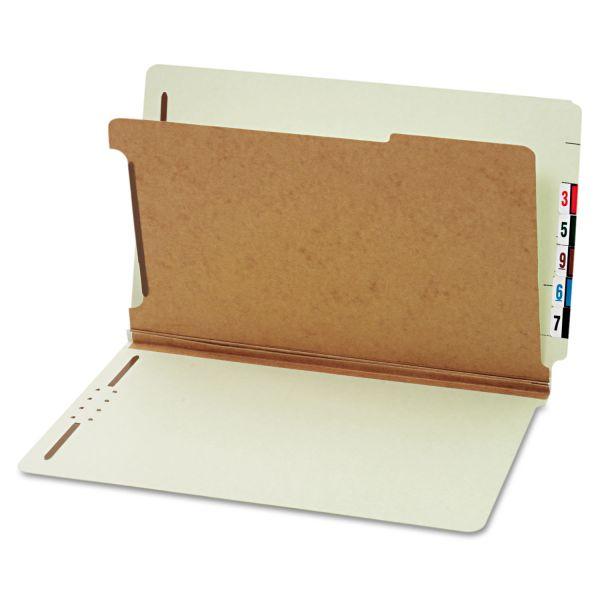 Globe-Weis End Tab Green Pressboard Classification Folders