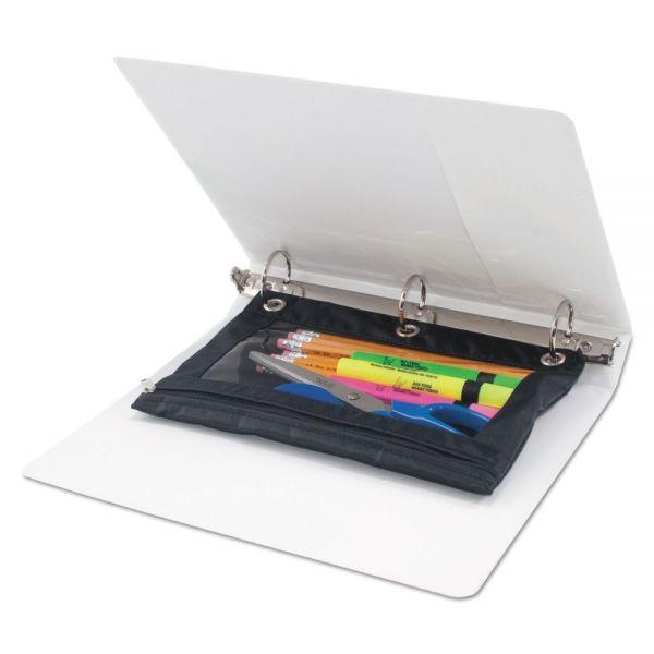 Advantus Binder Pencil Pouch, 10 x 7 3/8, Black/Clear, 3/Pack