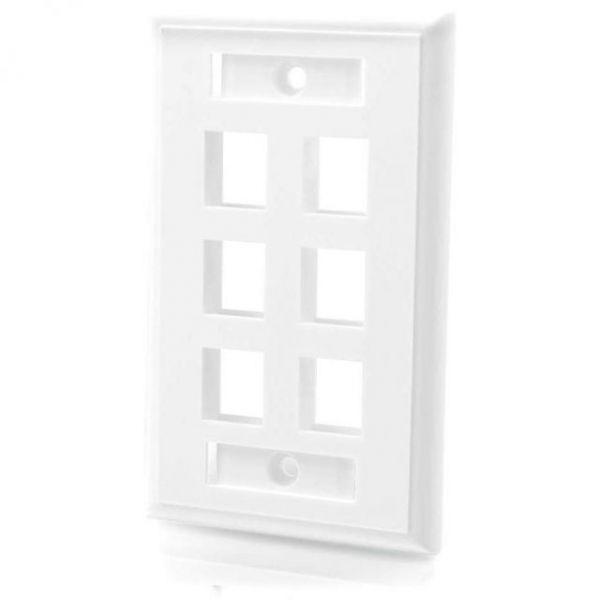 C2G 6-Port Single Gang Multimedia Keystone Wall Plate - White