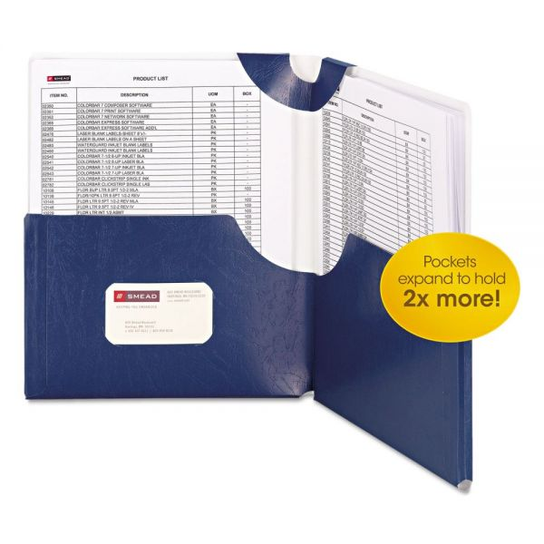 Smead Big Pocket Lockit Laminated Monaco Blue Two Pocket Folders