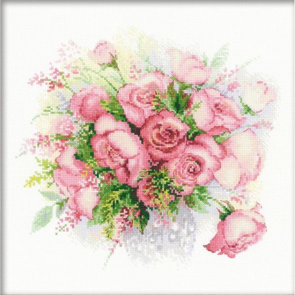 Watercolor Roses Counted Cross Stitch Kit