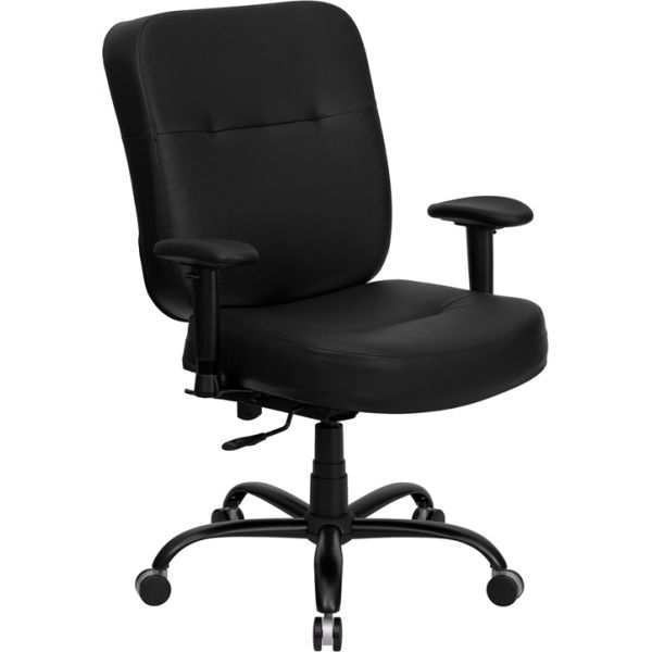 Flash Furniture Big & Tall Leather Executive Swivel Office Chair [WL-735SYG-BK-LEA-A-GG]