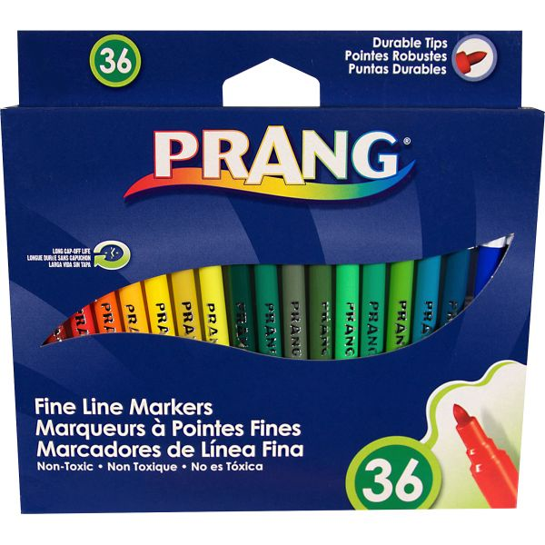 Dixon Prang Washable Markers, Fine Point, 36 Assorted Colors, 36/set