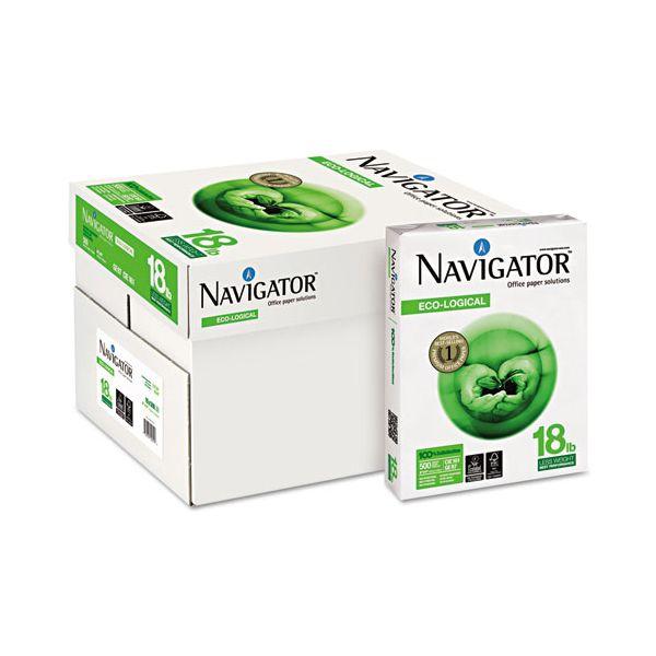 Navigator Eco-Logical Paper, 97 Brightness, 18 lb, 8 1/2 x 11, Bright White, 5000 Sheets/Carton