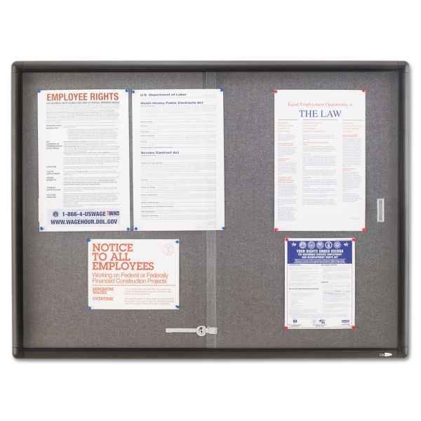 Quartet Indoor Use Enclosed Fabric Bulletin Board