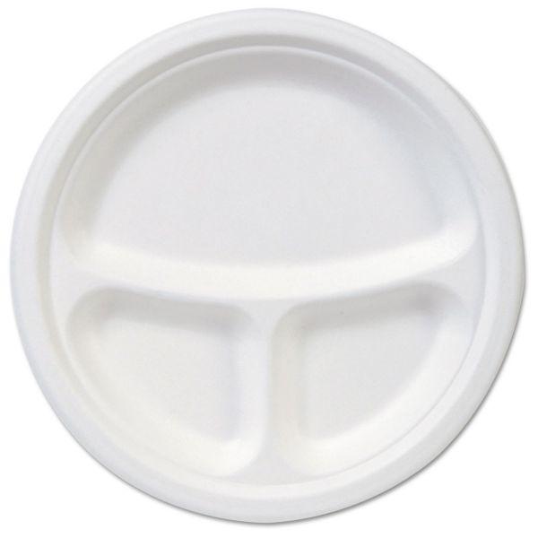 "Dixie EcoSmart Molded Fiber Dinnerware, 3-Compartment Plate, White, 9""Dia, 500/Carton"