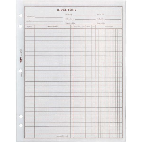 TOPS Easy Use Inventory Sheets