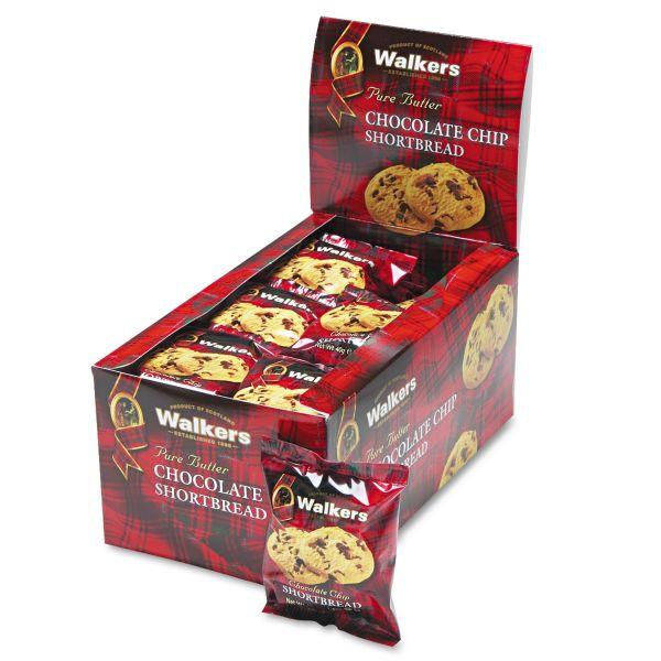 Walkers Shortbread Cookies, Chocolate Chip, 2 Cookies/Pack, 24 Packs/Box