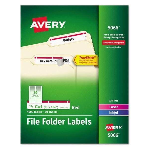 Avery Permanent File Folder Labels, TrueBlock, Inkjet/Laser, Red, 1500/Box