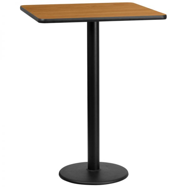 Flash Furniture 30'' Square Natural Laminate Table Top with 18'' Round Bar Height Table Base