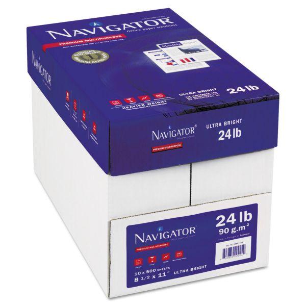 Navigator Platinum Paper, 99 Brightness, 24 lb, 8 1/2 x 11, White, 5000 Sheets/Carton