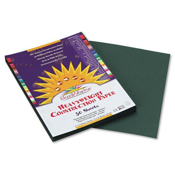 SunWorks Construction Paper, 58 lbs., 9 x 12, Dark Green, 50 Sheets/Pack
