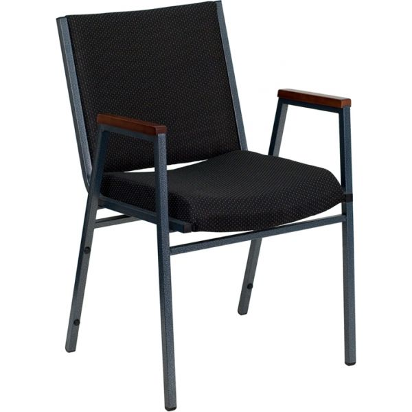 Flash Furniture HERCULES Series Heavy Duty, 3'' Thickly Padded, Black Patterned Upholstered Stack Chair with Arms and Ganging Bracket