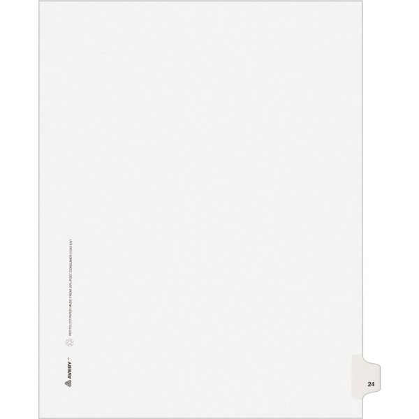Avery Allstate-Style Legal Exhibit Side Tab Divider, Title: 24, Letter, White, 25/Pack