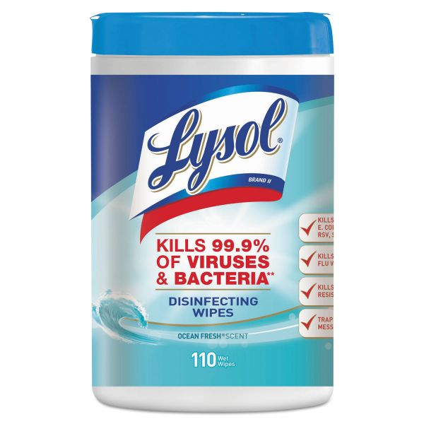 LYSOL Brand Disinfecting Wipes, Ocean Fresh Scent, 7 x 8, White, 110/Canister, 6/Pack