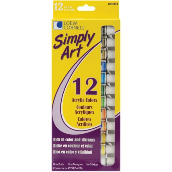 Simply Art Acrylic Paints 12ml 12/Pkg