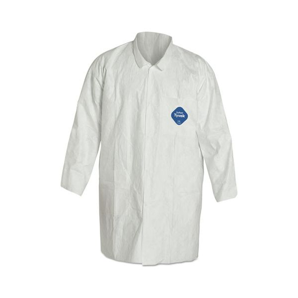 DuPont Tyvek Lab Coat, White, Snap Front, 2 Pockets, Medium, 30/Carton