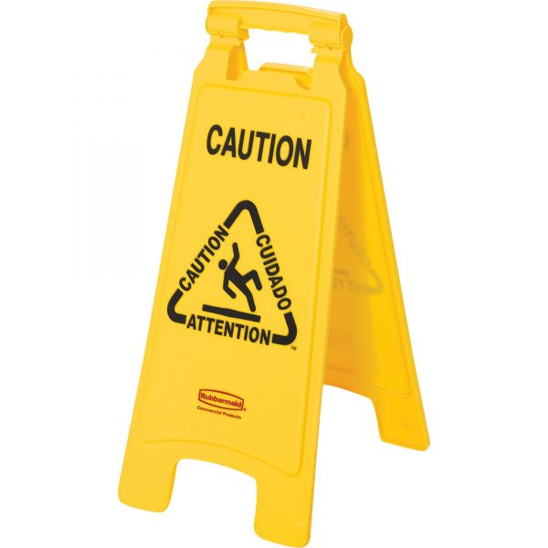 """Rubbermaid Commercial Multilingual """"Caution"""" Floor Sign, Plastic, 11 x 12 x 25, Bright Yellow"""
