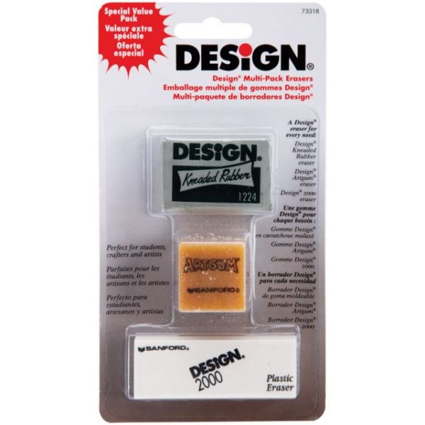Design Art Erasers 3/Pkg