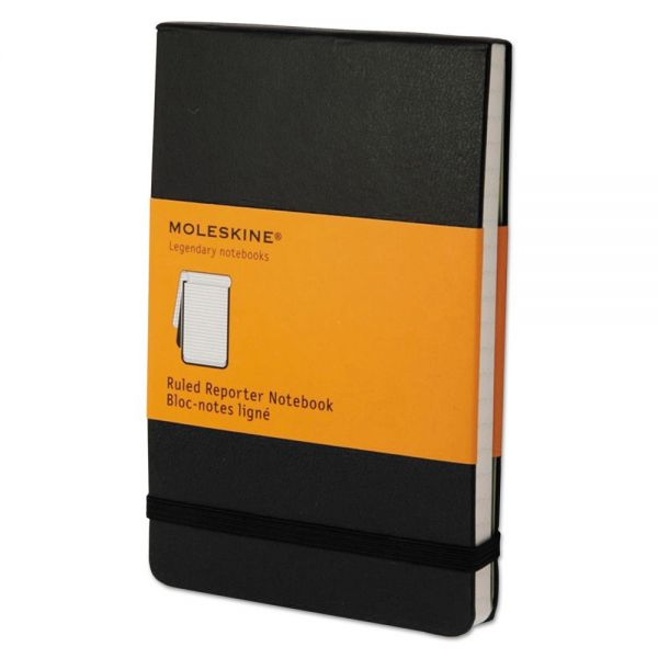Moleskine Reporter Notebook, Ruled, 3 1/2 x 5 1/2, Black Cover, 192 Sheets