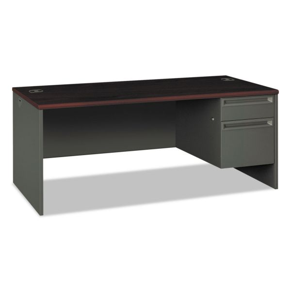 HON 38000 Series Right Pedestal Desk, 72w x 36d x 29-1/2h, Mahogany/Charcoal