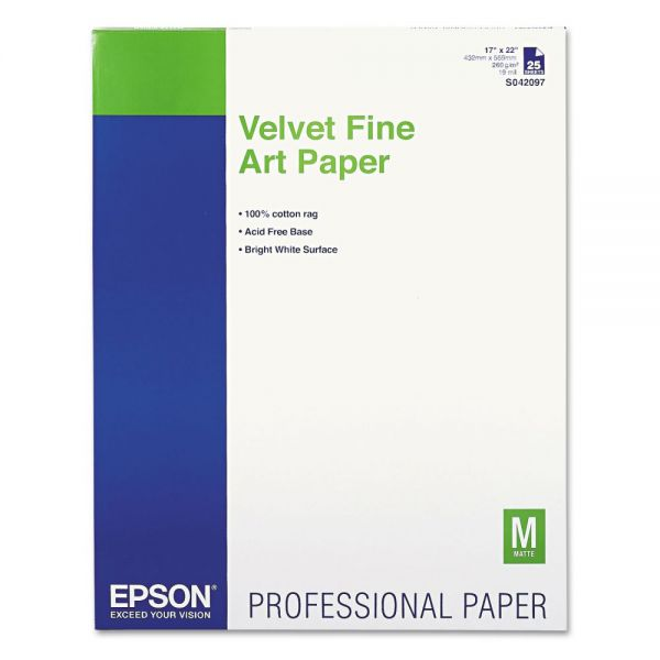 Epson Velvet Fine Art Paper, 17 x 22, White, 25 Sheets/Pack