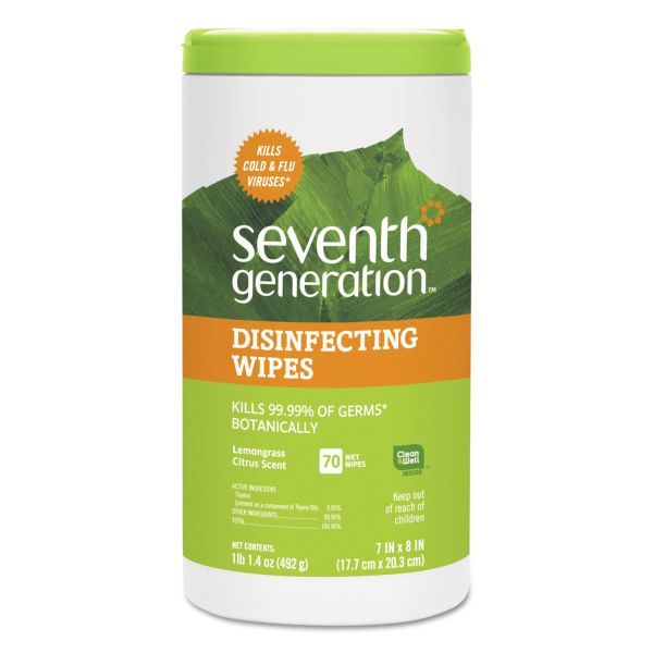 Seventh Generation Botanical Disinfecting Wipes, 8 x 7, 70 Count