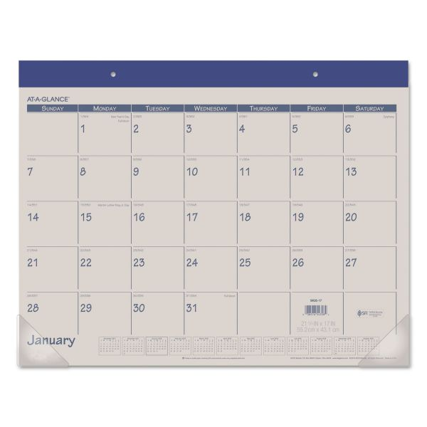 AT-A-GLANCE Fashion Color Desk Pad, 22 x 17, Blue