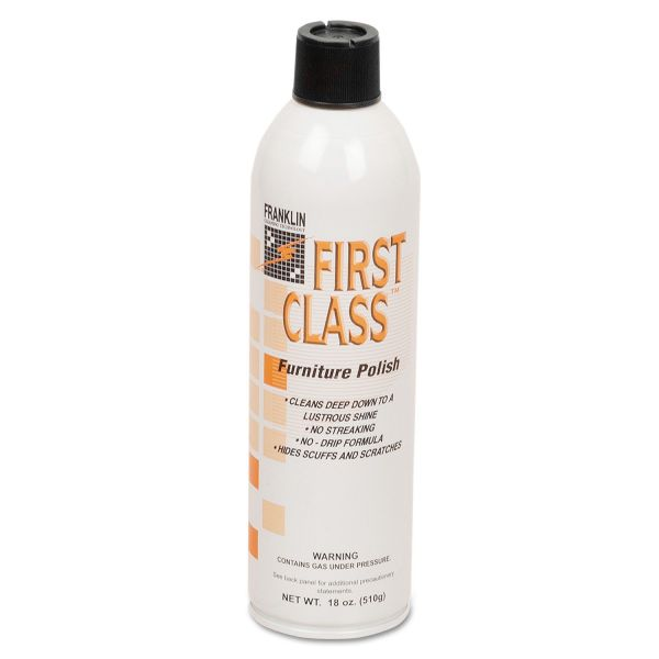 Franklin Cleaning Technology First Class Furniture Polish, Floral Scent, 18 oz Aerosol Can, 12/Carton