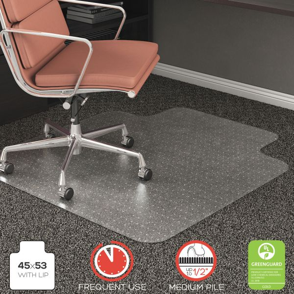 deflecto RollaMat Frequent Use Chair Mat for High Pile Carpet, 45 x 53 w/Lip, Clear