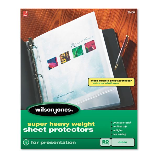 Wilson Jones Top Loading Non-Glare Super Heavy Weight Sheet Protectors