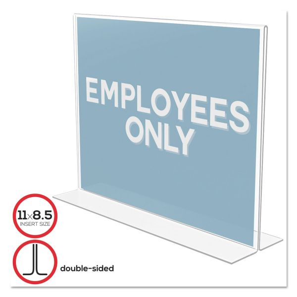 deflecto Classic Image Double-Sided Sign Holder, 11 x 8 1/2 Insert, Clear