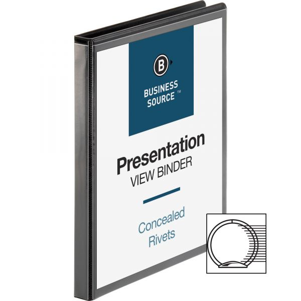 """Business Source Standard 1/2"""" 3-Ring View Binder"""