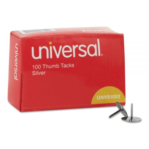 "Universal Thumb Tacks, Steel, Silver, 5/16"", 100/Box"
