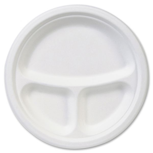 "Dixie EcoSmart 9"" Molded Fiber Compartment Plates"